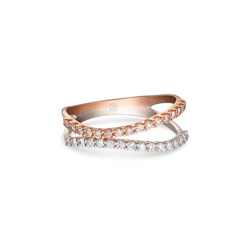 07b1869407121 Anel Ouro Branco Ouro Rosé e Diamantes - Colecao Degradê
