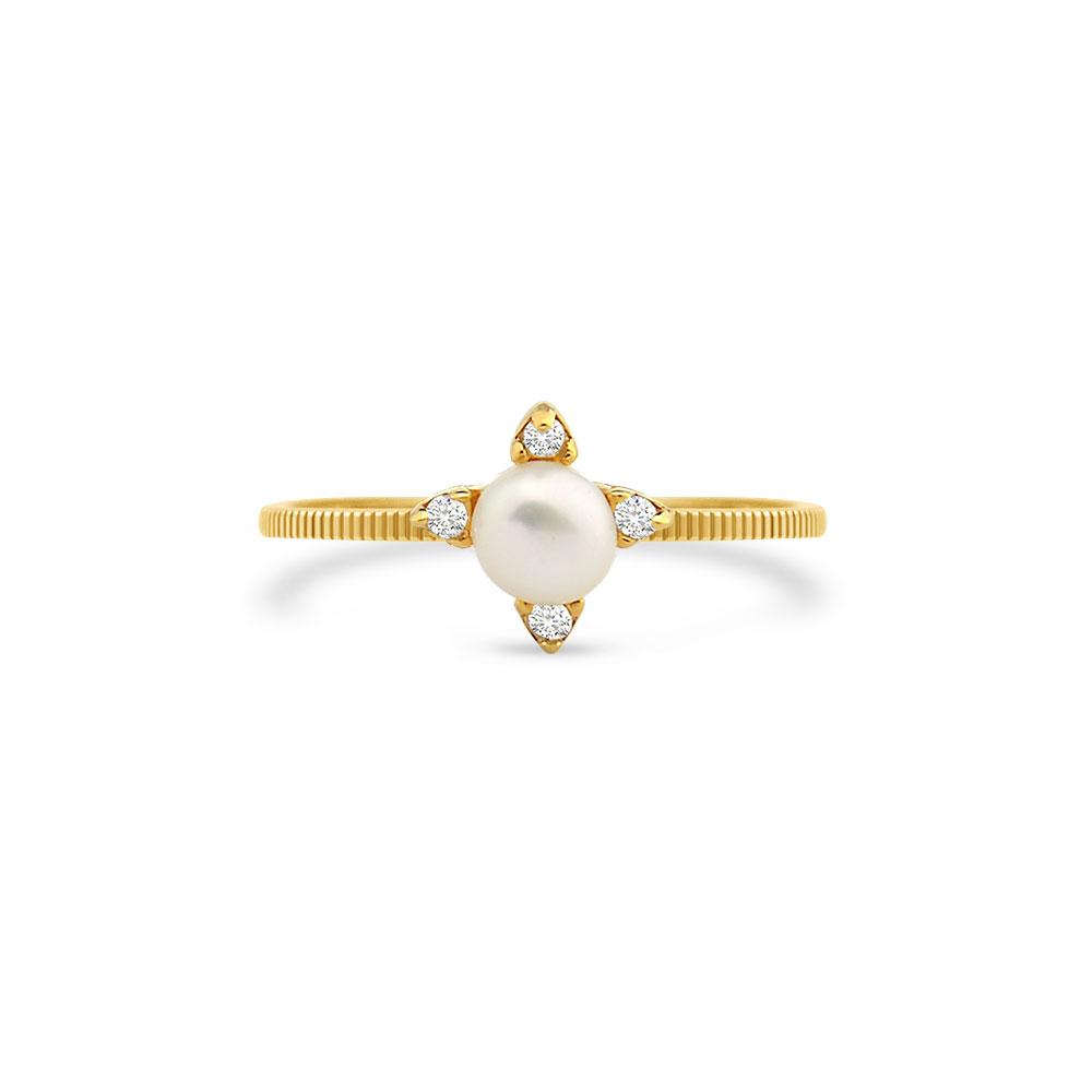 3d35264f2511b Anel Ouro Amarelo Pérola e Diamantes - Colecao Dengosa