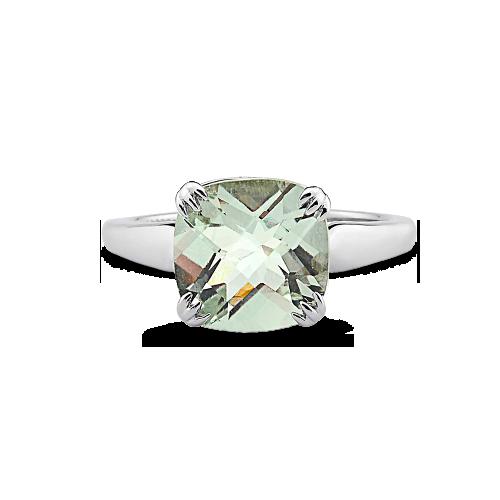 Anel Prata e Quartzo Verde - Colecao Cores Prata c9ca248e33