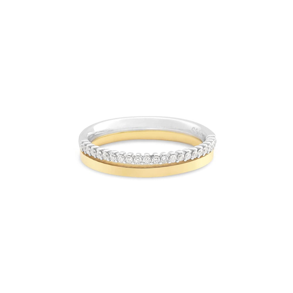 6f384eb411e Aliança de Casamento Ouro Amarelo e Branco com Diamantes (3.6mm)