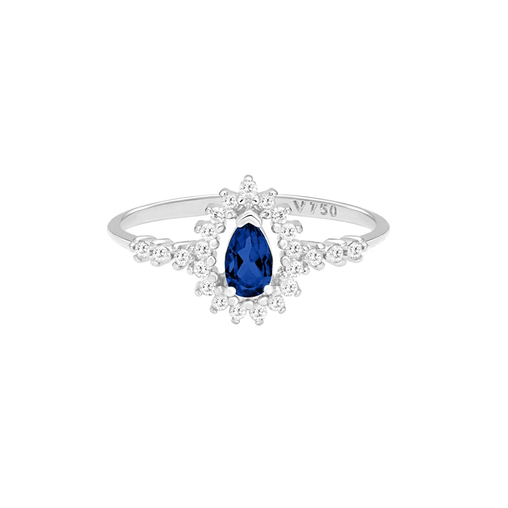 3c053b1fc310e Anel Gota Ouro Branco Safira e Diamantes - Colecao Classic Oriental