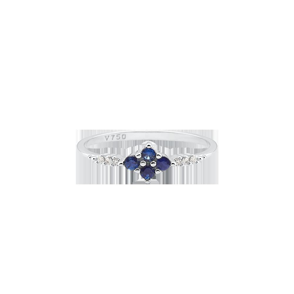 9f7784ec153b7 Anel Ouro Branco Diamantes e Safira - Colecao Classic Oriental