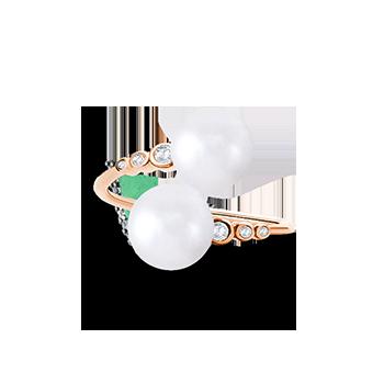 c57691ecc5b Anel Ouro Rosé Diamantes e Pérolas Maior
