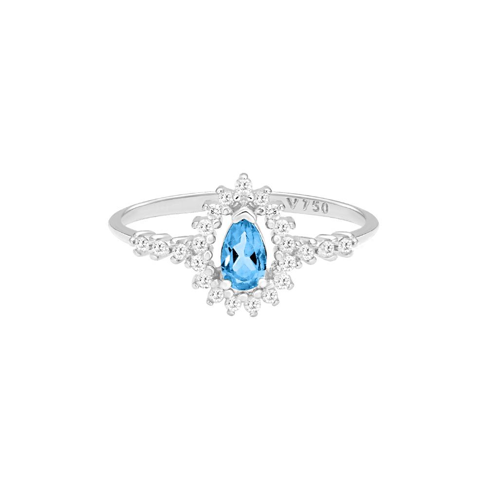 Anel Ouro Branco Topázio Sky e Diamantes - Colecao Classic 223f82c61c