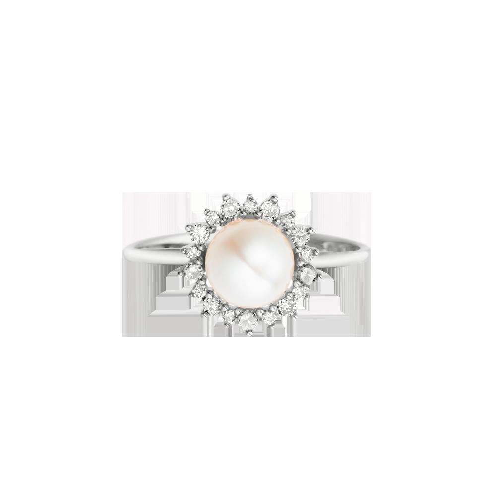 b0edf76ce47 Anel Ouro Branco Pérola e Diamantes