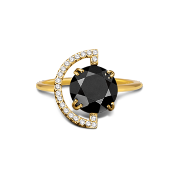 8437e5f236e59 Anel Ouro Amarelo Quartzo Negro e Diamantes Menor