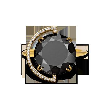 7ae36edf96ca5 Anel Ouro Amarelo Quartzo Negro e Diamantes Maior