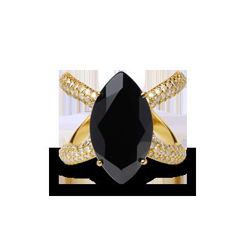 b409d58fe22 Anel Ouro Amarelo Quartzo Negro e Diamantes