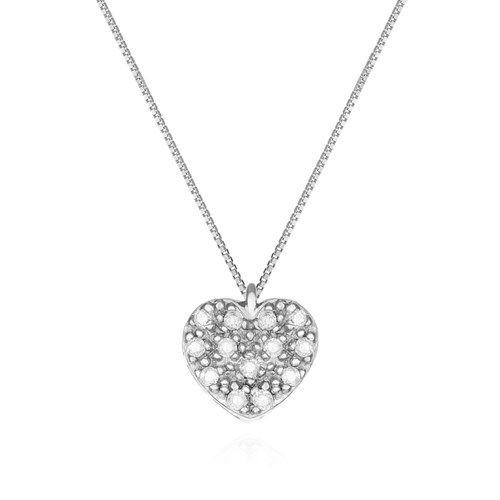 f5cbb847d146d Pingente Coração Ouro Branco e Diamantes - Colecao Mama