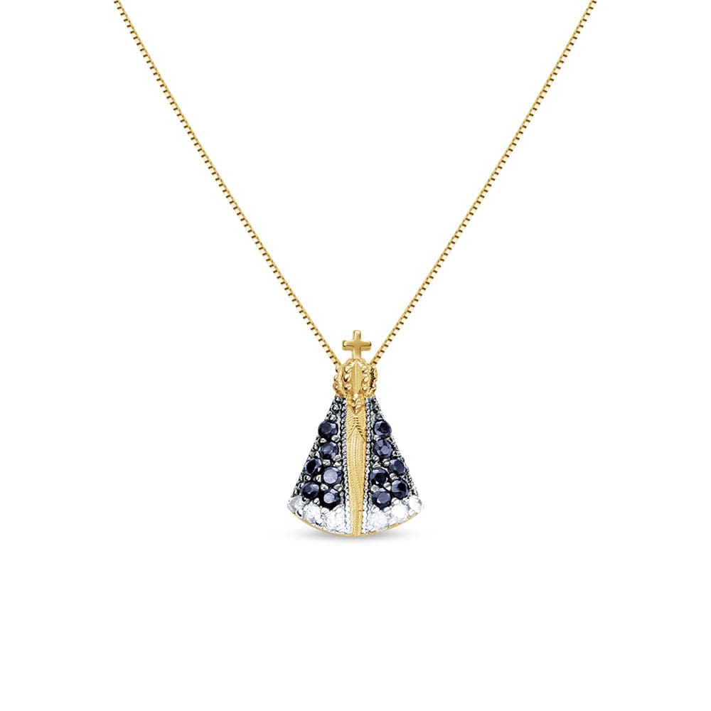 59818e92dd92d Pingente Nossa Sra Aparecida Ouro Amarelo Safiras e Diamantes - Colecao  Medalhas