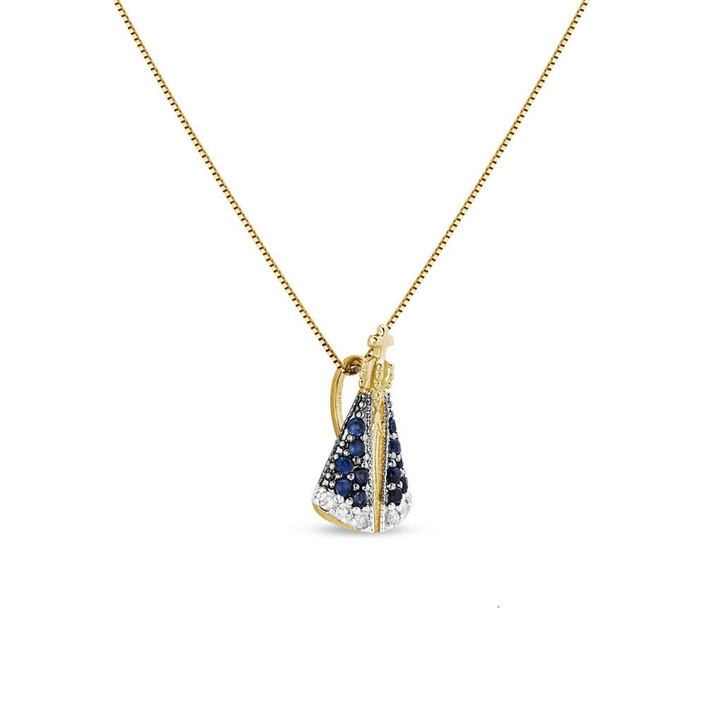 ... FéPingente nossa sra aparecida ouro amarelo safiras e diamantes - coleção  medalhas. Passe o mouse para ampliar. Confira o estoque deste produto nas  ... 3a640aeb15