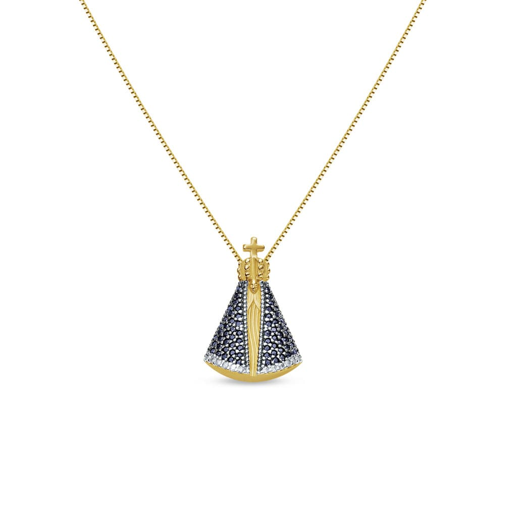 Pingente Nossa Sra Aparecida Ouro Amarelo Safiras e Diamantes - Colecao  Medalhas 159d4aab9b