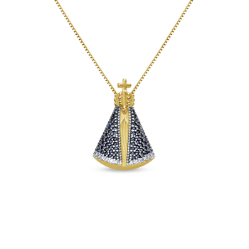 Pingente Nossa Sra Aparecida Ouro Amarelo Safiras e DiamantesR  1.990,00 37bbc90a01