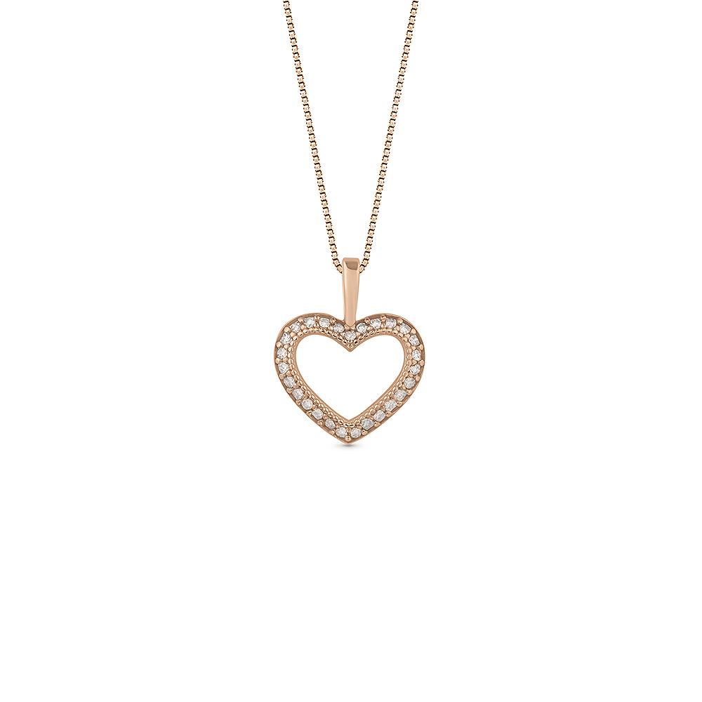 876c496e6ede3 Pingente Coração Ouro Rosé e Diamantes Brown - Colecao Amantes