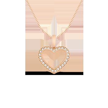 Pingente Coração Ouro Rosé e Diamantes Brown 9ca317aab4