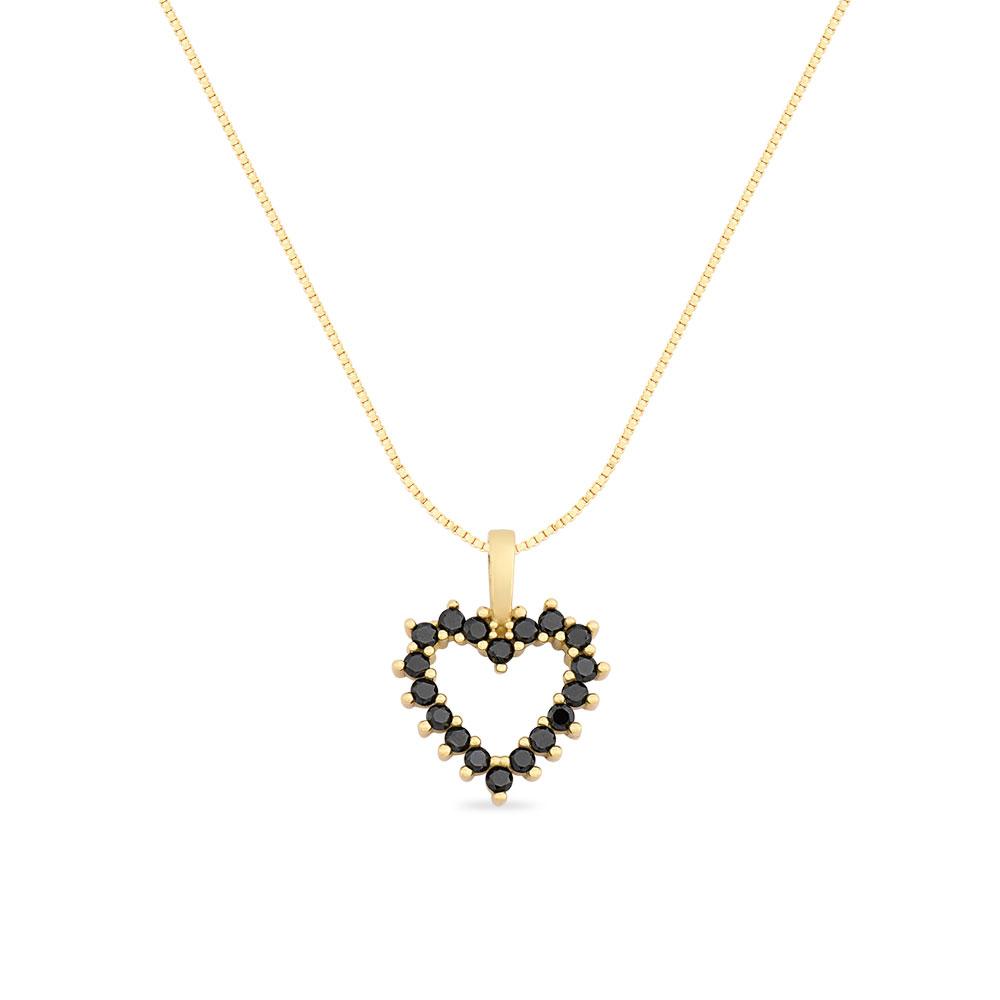 93a76fdb23a24 Pingente Coração Ouro Amarelo e Diamantes Negros - Colecao Amantes