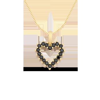 Pingente Coração Ouro Amarelo e Diamantes Negros 90783b61b2