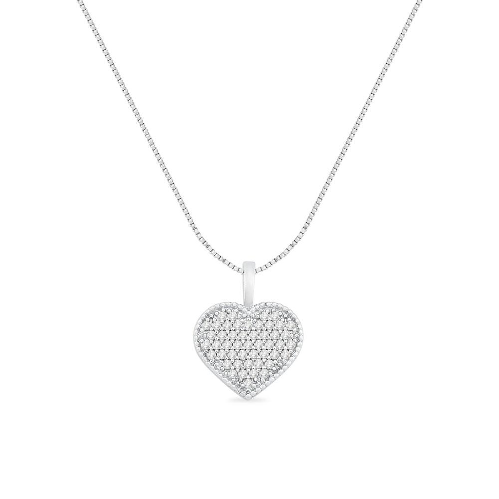 d19db05f78bad Pingente Coração Ouro Branco e Diamantes - Colecao Amantes