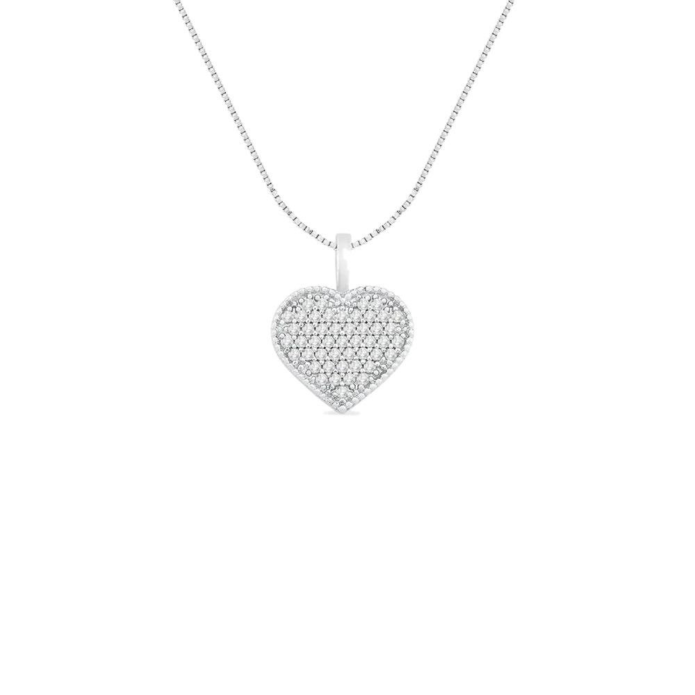 Pingente Coração Ouro Branco e Diamantes 15 mm