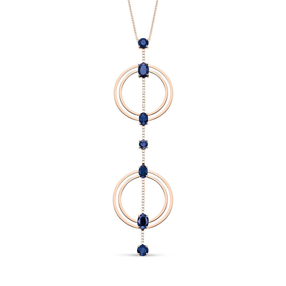 Pingente Ouro Rosé Diamantes e Safiras - Colecao Clave 2eb290c7db