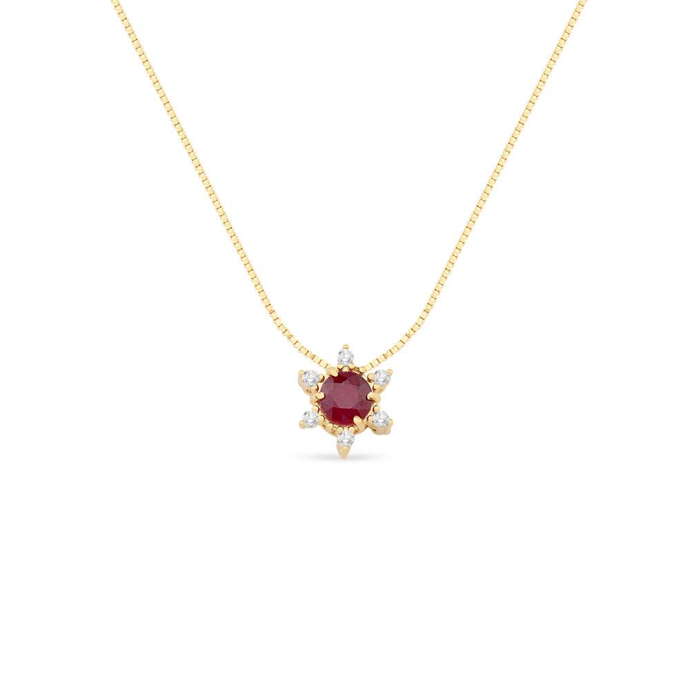 dd318b803368a Pingente Ouro Amarelo Rubi e Diamantes - Colecao Dengosa