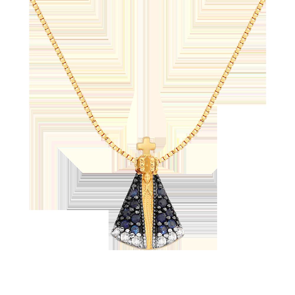Pingente Nossa Sra Aparecida Ouro Amarelo Safiras e Topázios - Colecao  Medalhas c464562740