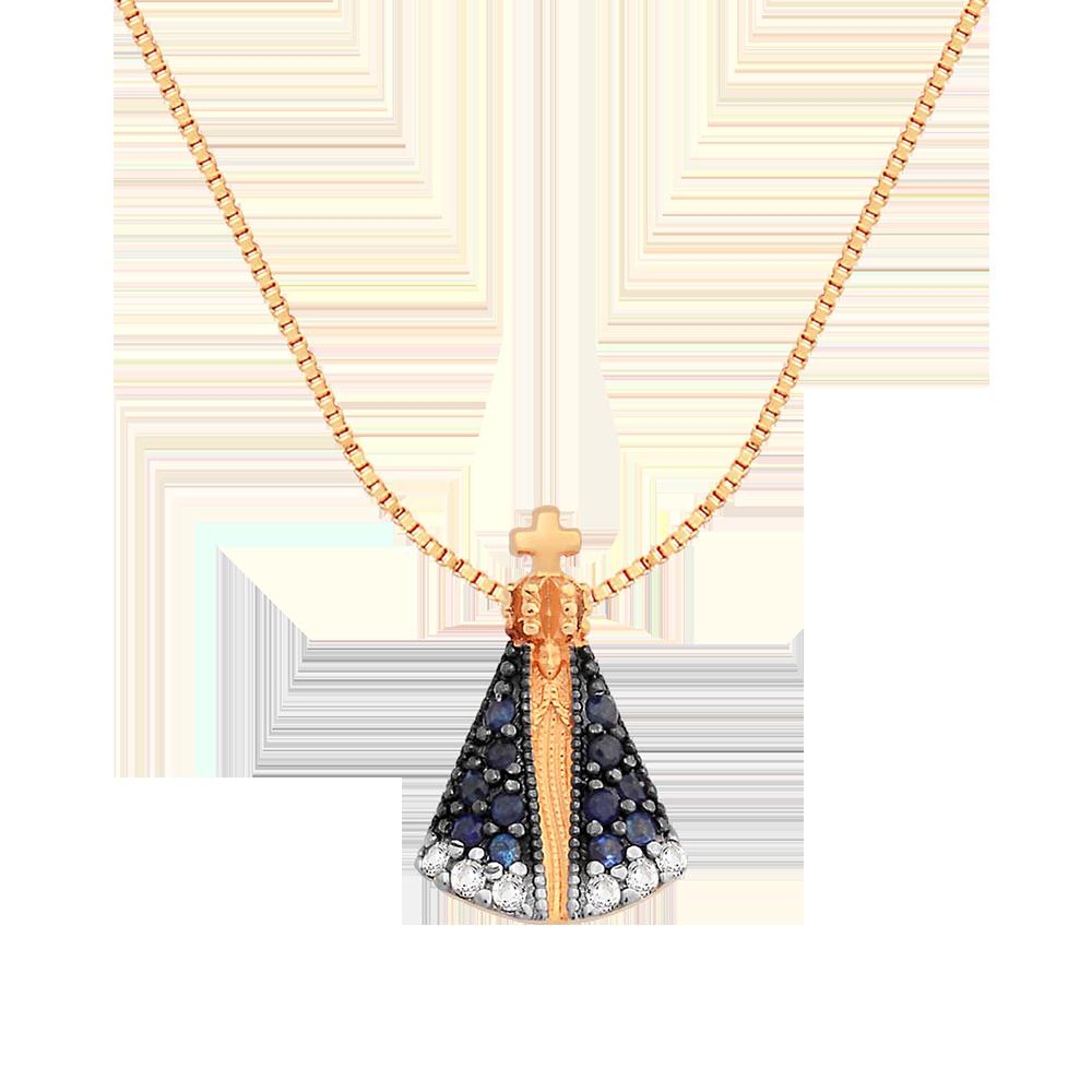 Pingente Nossa Sra Aparecida Ouro Rosé Safiras e Topázios - Colecao Medalhas 8b382d2ae2