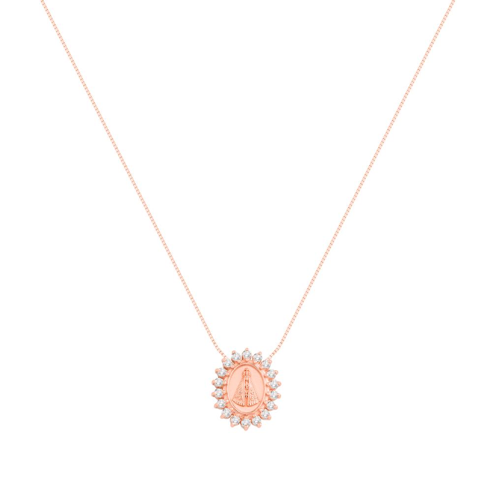 Pingente Nossa Senhora Ouro Rosé e Topázios - Colecao Medalhas 440a05db7d