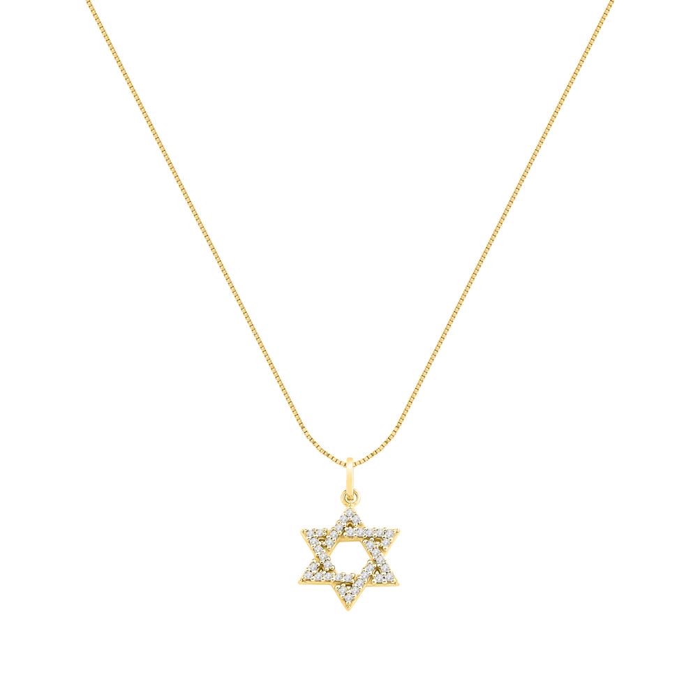 8c7a36b1d640f Pingente Estrela de Davi Ouro Amarelo e Diamantes - Colecao Medalhas