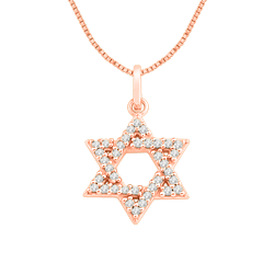 Pingente Estrela de Davi Ouro Rosé e Diamantes 80f83f3970