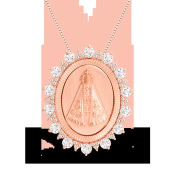 Pingente Nossa Senhora de Aparecida Ouro Rosé e Topázios - Colecao ... ebff863985