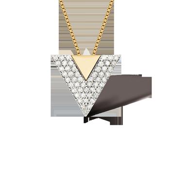 45c27cd8d495b Pingente Ouro Branco Ouro Amarelo e Diamantes. Coleção Vivara