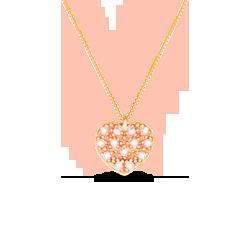 Pingente Coração Ouro Rosé e Diamantes 0cb7d94f65c27