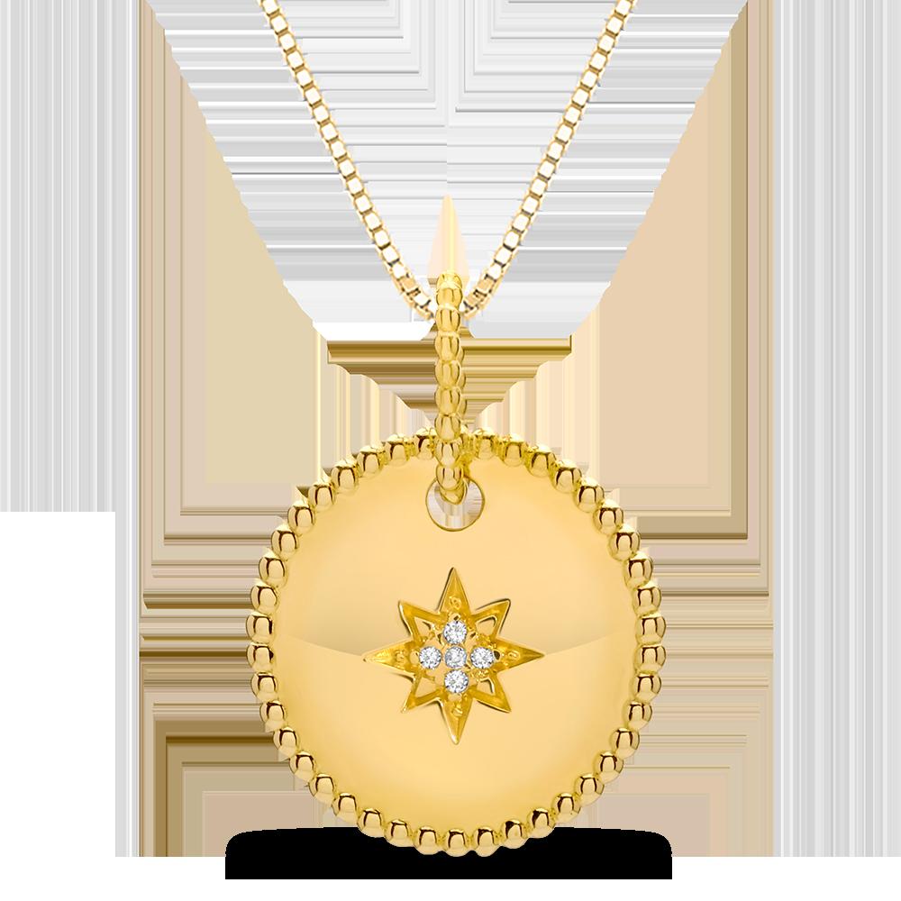 112d294a9255b Pingente Ouro Amarelo e Diamantes. Coleção Medalhas
