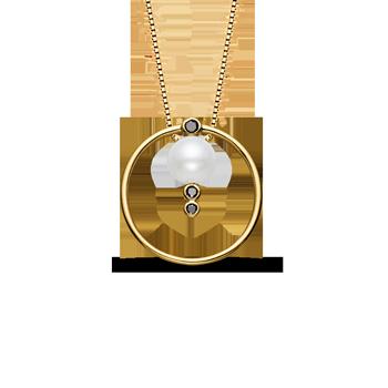 c10539f2deb65 Pingente Ouro Amarelo Pérola e Diamantes Negros. Lançamento. Coleção Una