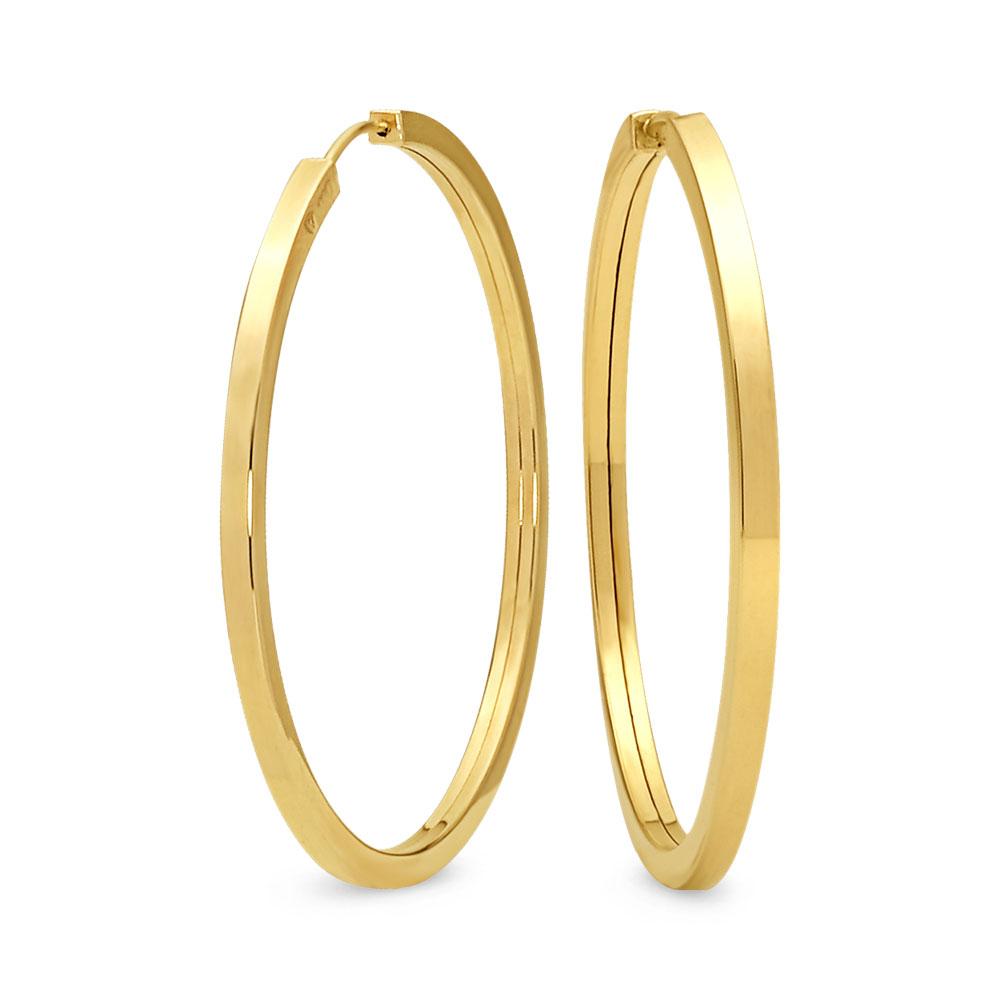 Argola Lisa Ouro Amarelo Diversos Diâmetros de 6 mm à 67 mm