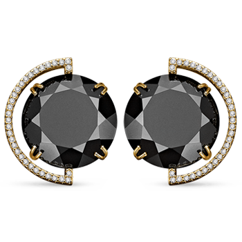 1d3d511530424 Brinco Ouro Amarelo Quartzo Negro e Diamantes Menor