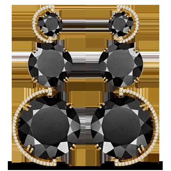 c738e5f0b908a Brinco Ouro Amarelo Quartzo Negro e Diamantes Maior