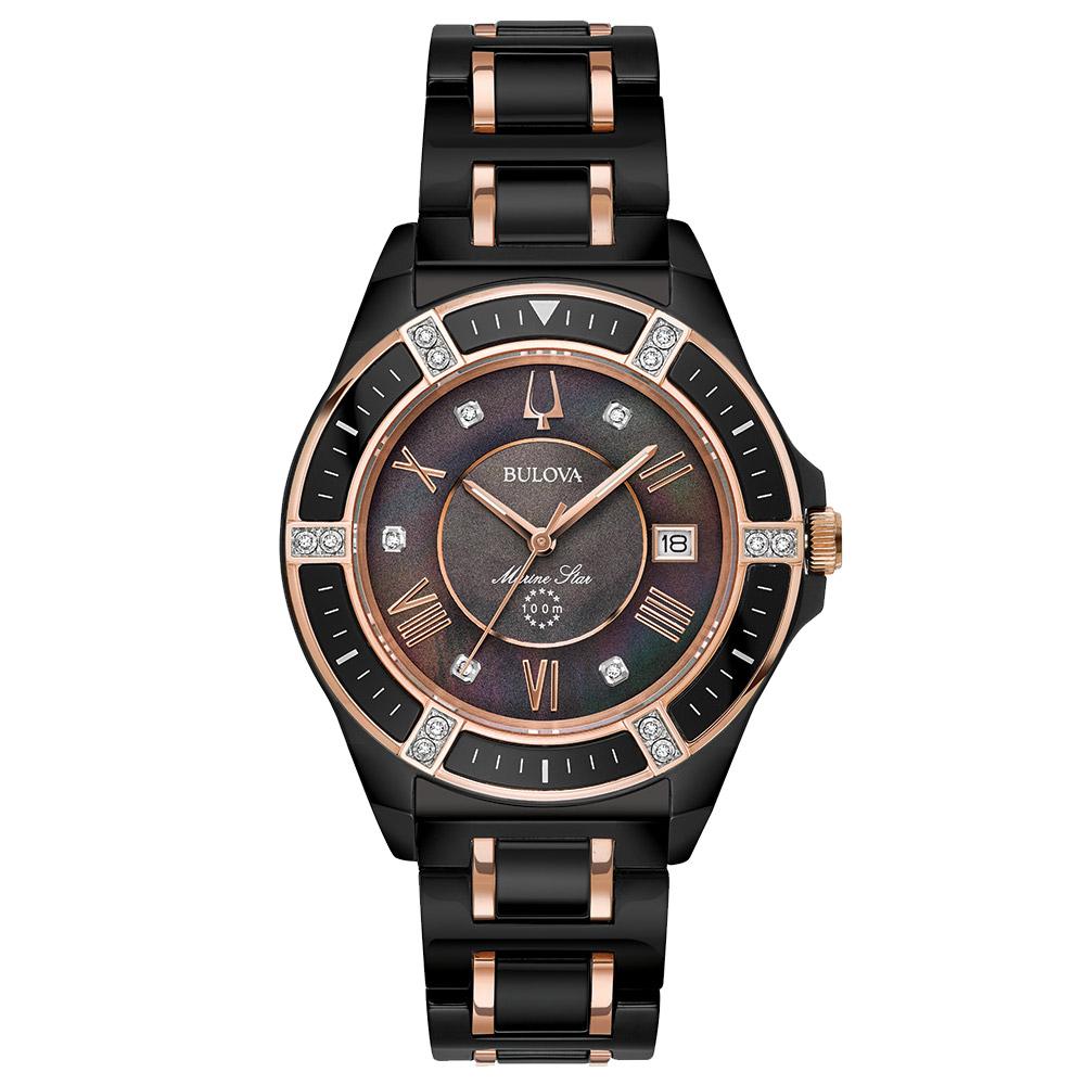 528cb1beb80 Relógio Bulova Feminino Cerâmica Preta e Rosé - 98R242