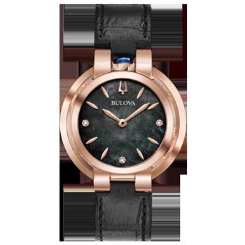 dc66b672e78 Relógio Bulova Feminino Couro Preto - 97P139