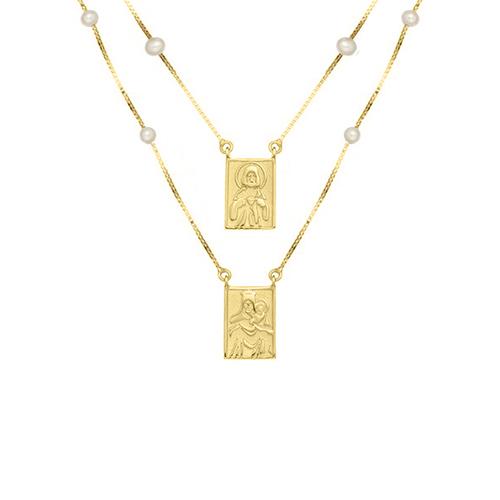 Escapulário Ouro Amarelo e Pérolas - Colecao Medalhas c7d4f17153