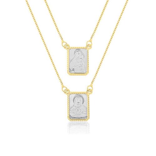 Escapulário Ouro Amarelo e Ouro Branco - Colecao Medalhas f43058d30a