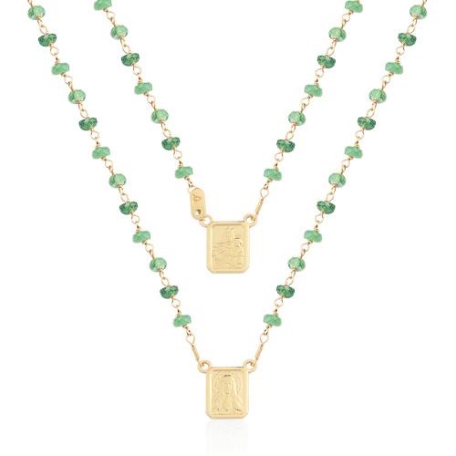 b4fccd57fd10e Escapulário Ouro Amarelo e Esmeraldas - Colecao Medalhas