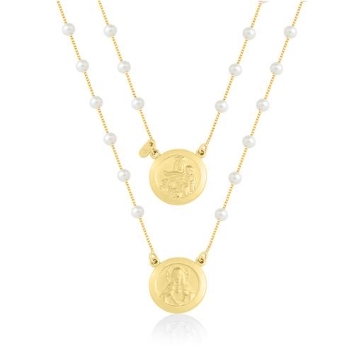481ddc74a5fb0 Escapulário Redondo Ouro Amarelo e Pérolas - Colecao Medalhas