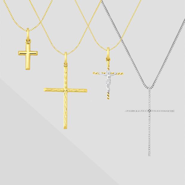 13c8c980daa83 Pingente Cruz Ouro Branco e Diamantes - Colecao Cruz Stick