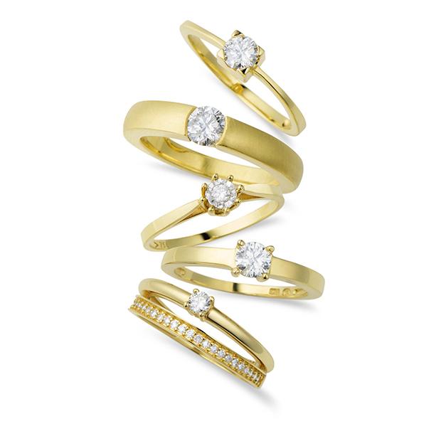 Solitário Ouro Amarelo e 5 Pontos de Diamantes - Colecao Solitário f33d3631cf