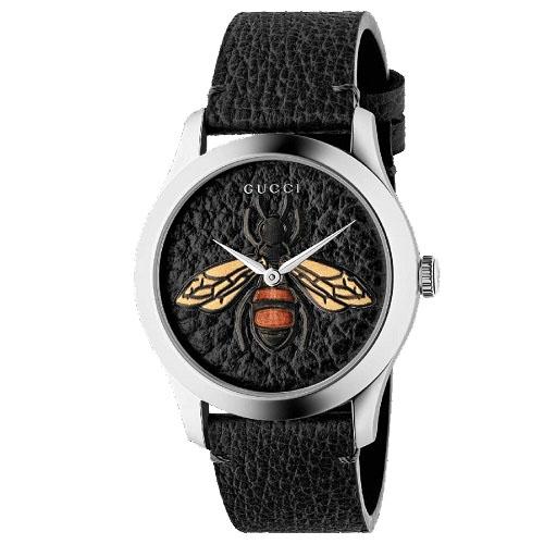 e36f364141c Relógio Gucci Feminino Couro Preto - YA1264067