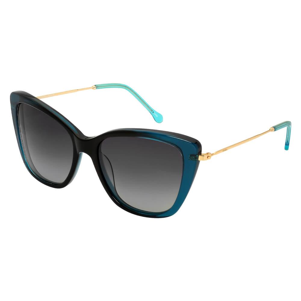 c059ebfde6b3c Óculos de Sol Gatinho em Acetato Azul e Preto