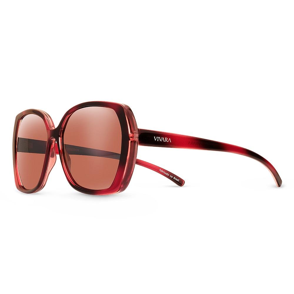0b02ff629 Óculos de Sol Quadrado em Acetato Vermelho