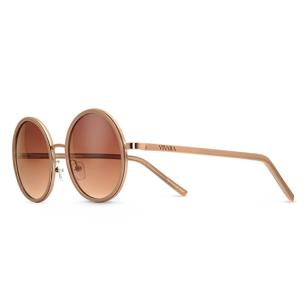 e331ac875 Óculos de Sol Redondo em Acetato Bege